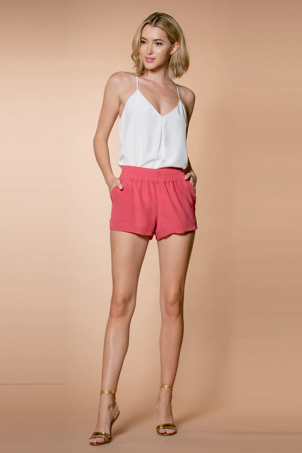 Rose Petal Silk Pull-On Shorts by Lavender Brown 001
