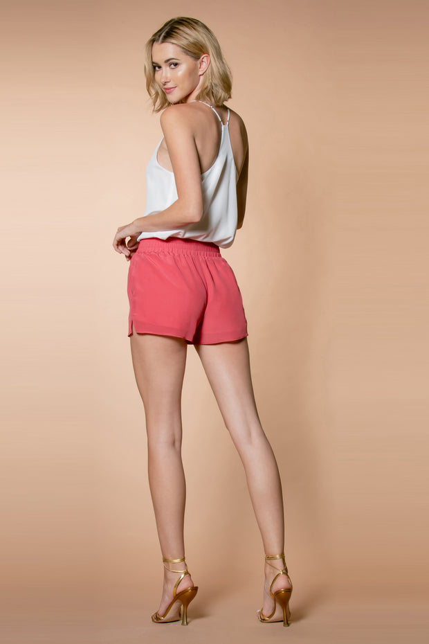 Rose Petal Silk Pull-On Shorts by Lavender Brown 002