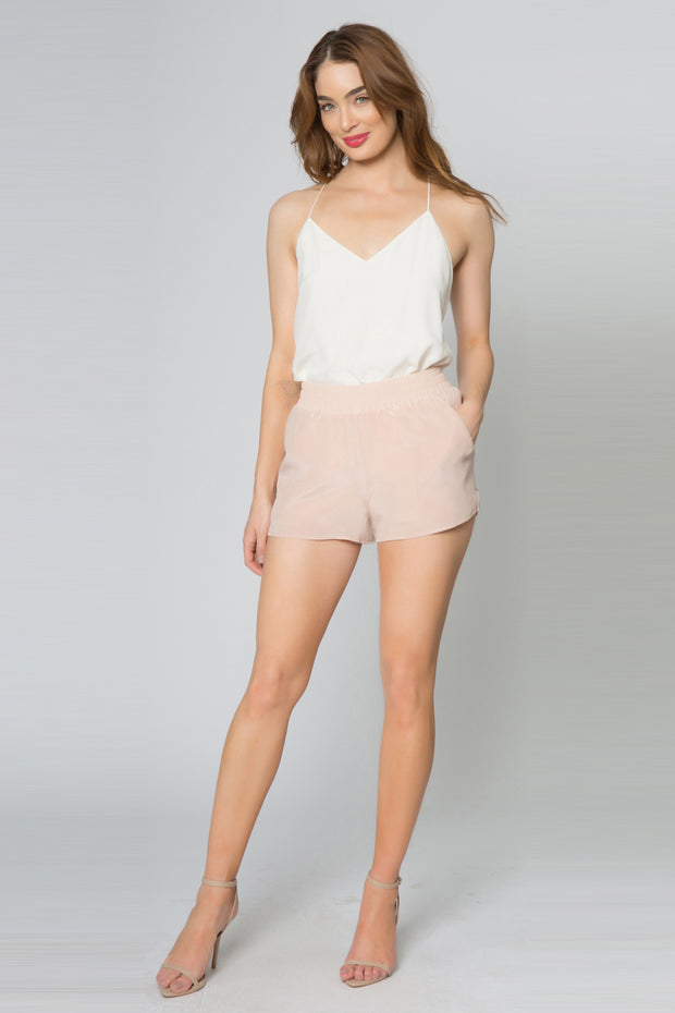 Effortless Easy Pull on Basic Silk Shorts 01