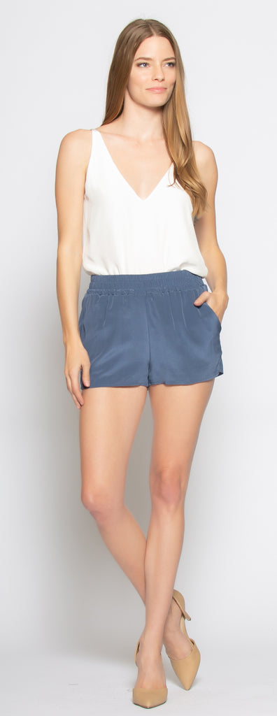 Denim Blue Easy Fit Pull-On Silk Shorts by Lavender Brown - 1