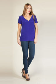 Cobalt Blue Short Sleeve Silk Top by Lavender Brown 001
