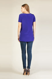 Cobalt Blue Short Sleeve Silk Top by Lavender Brown 002