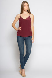 Burgundy Racerback Silk Cami Tank Top by Lavender Brown 001
