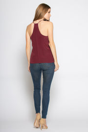 Burgundy Racerback Silk Cami Tank Top by Lavender Brown 002