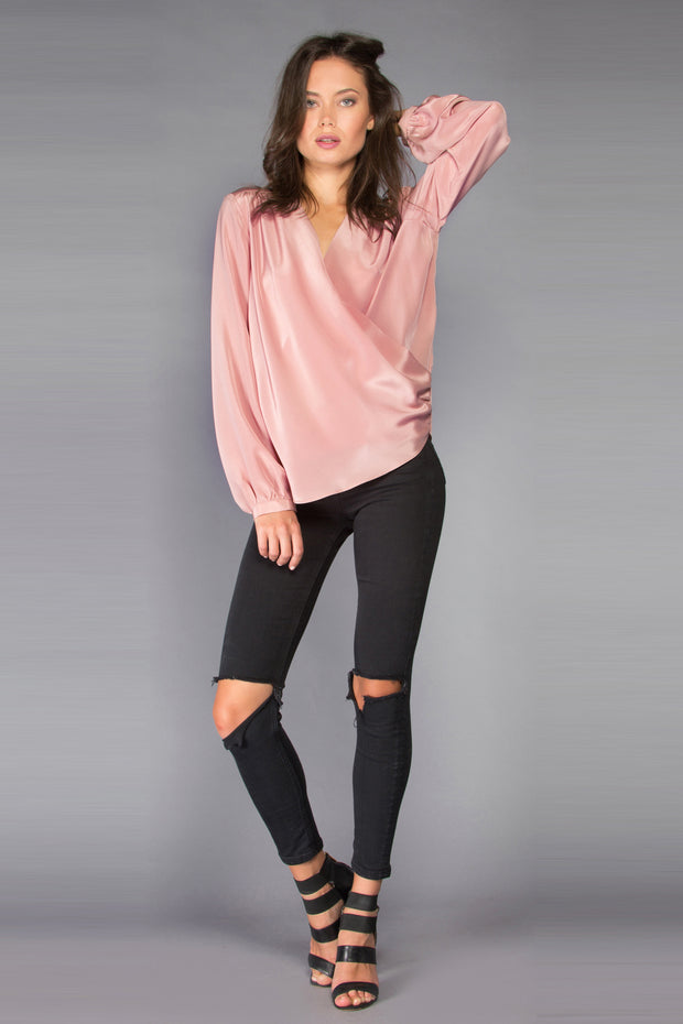 Dusty Rose Long Sleeve Silk Wrap Top by Lavender Brown 001