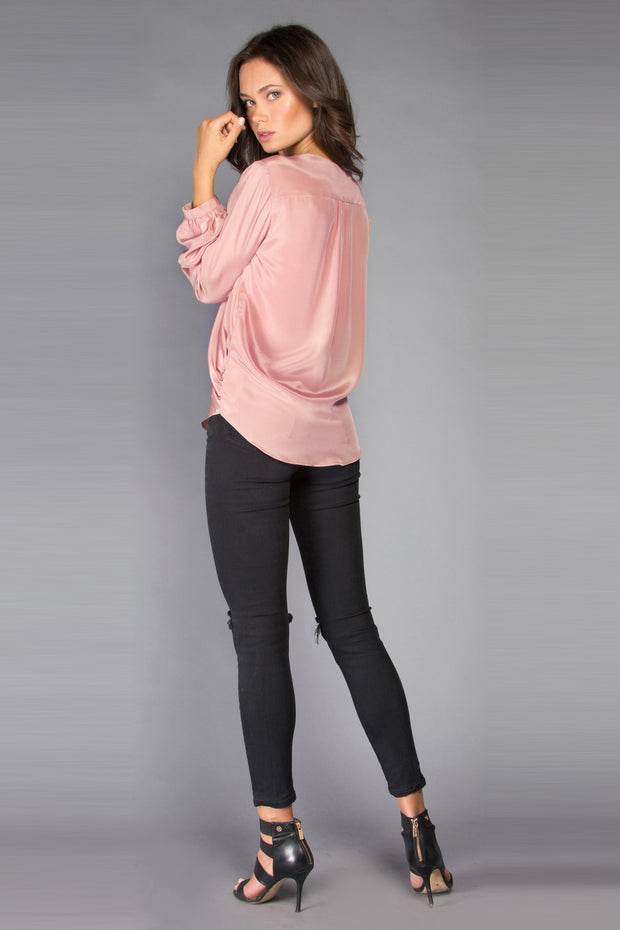 Dusty Rose Long Sleeve Silk Wrap Top by Lavender Brown 002