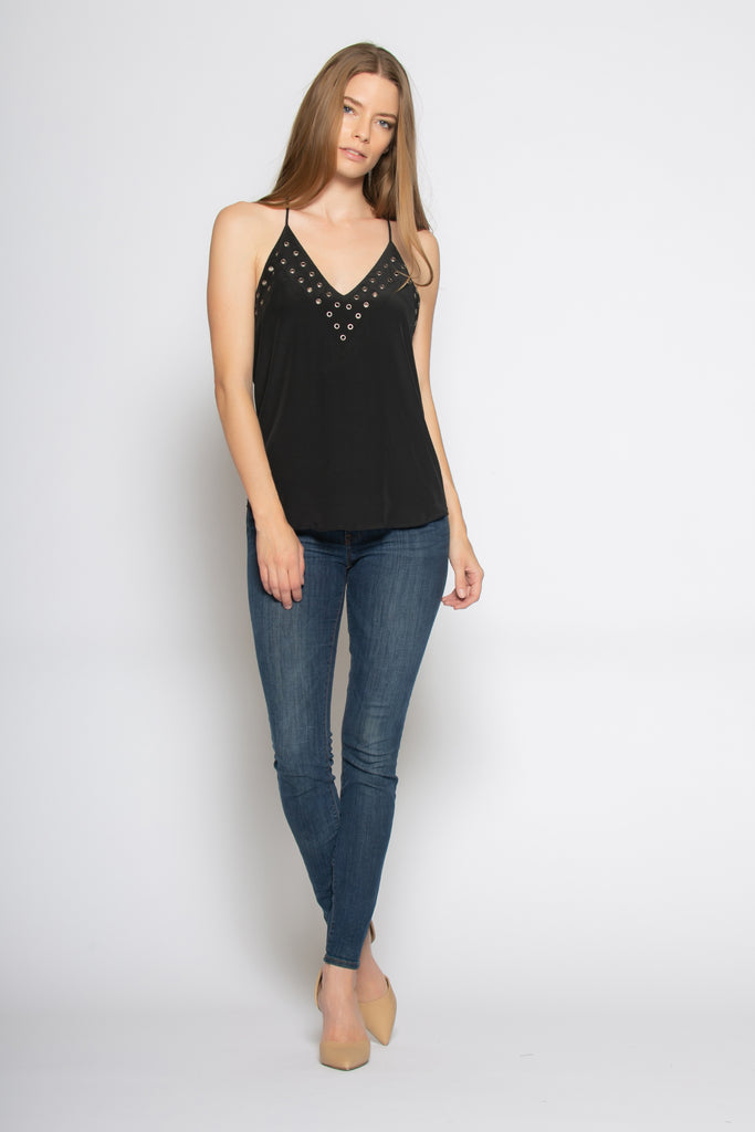 Black Racerback Eyelet Silk Cami Tank Top by Lavender Brown - 1