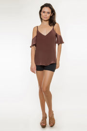 Brown Short Sleeve Cold Shoulder Silk Top by Lavender Brown 001