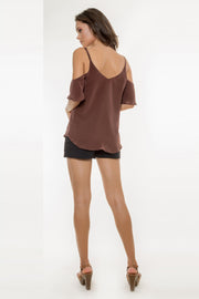Brown Short Sleeve Cold Shoulder Silk Top by Lavender Brown 002