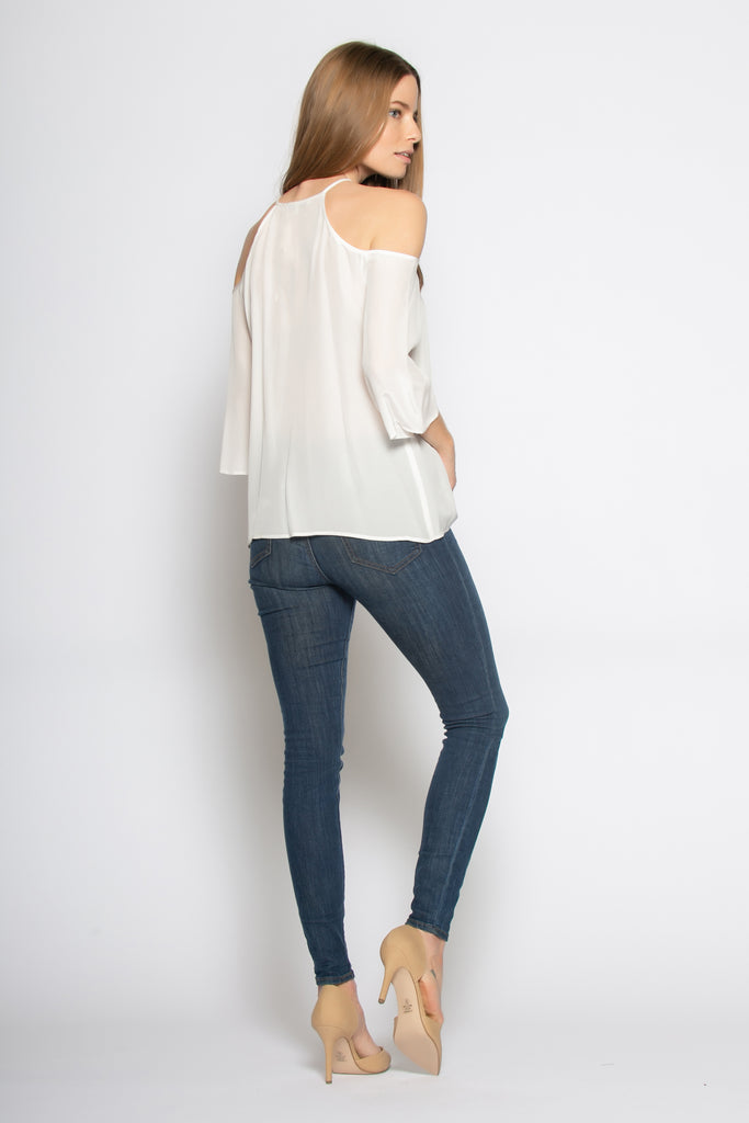 Ivory Elbow Sleeve Cold Shoulder Silk Blouse by Lavender Brown - 2