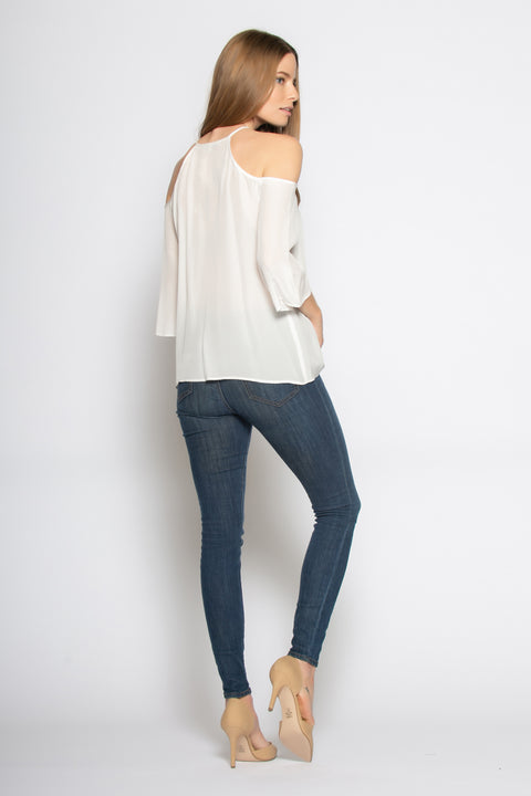 Ivory Elbow Sleeve Cold Shoulder Silk Blouse by Lavender Brown 002
