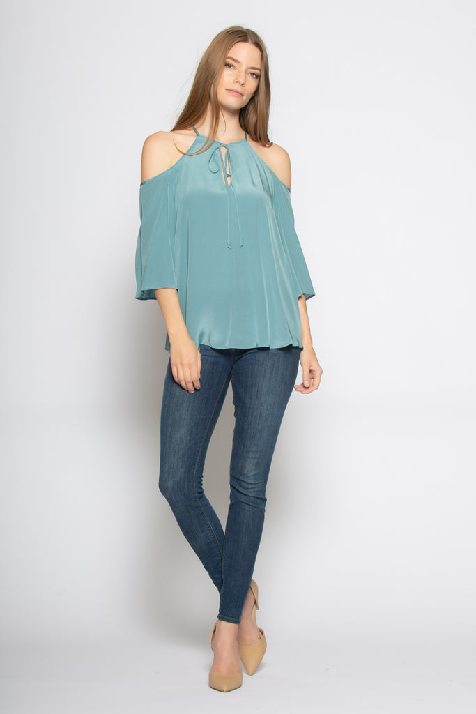 Slate Blue Elbow Sleeve Cold Shoulder Silk Blouse by Lavender Brown - 1
