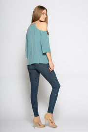 Slate Blue Elbow Sleeve Cold Shoulder Silk Blouse by Lavender Brown 002