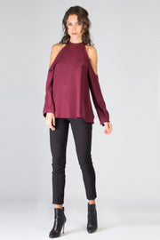 Burgundy Long Sleeve Cold Shoulder Silk Blouse by Lavender Brown 001