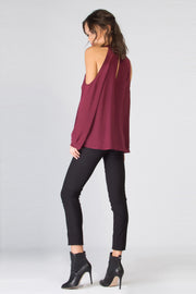 Burgundy Long Sleeve Cold Shoulder Silk Blouse by Lavender Brown 002