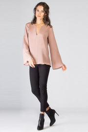 Light Pink Long Sleeve Silk Blouse by Lavender Brown 001