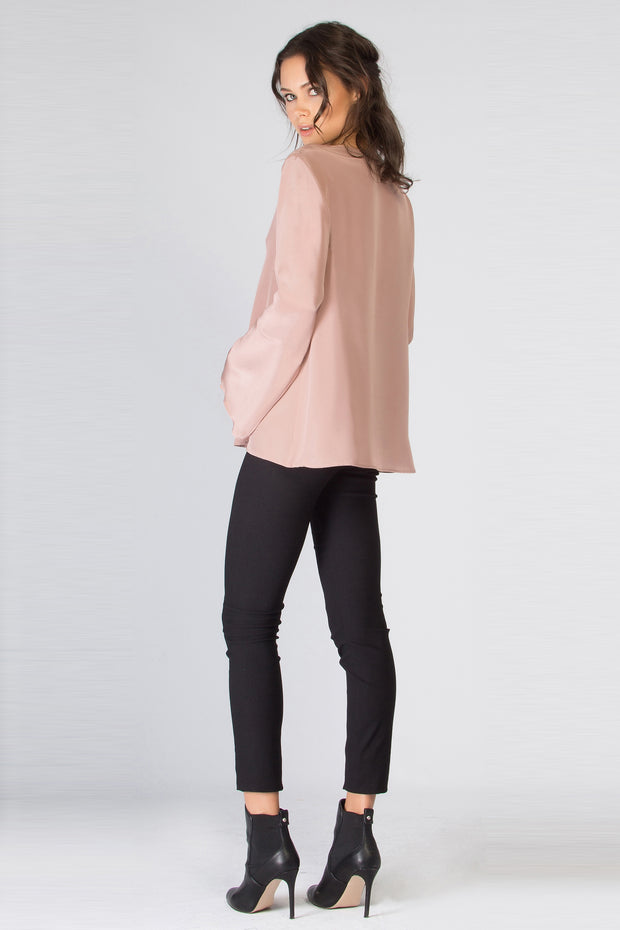 Light Pink Long Sleeve Silk Blouse by Lavender Brown 002