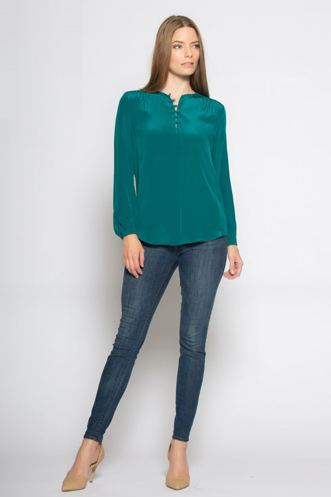 Emerald Green Long Sleeve Silk Pullover Shirt by Lavender Brown 001