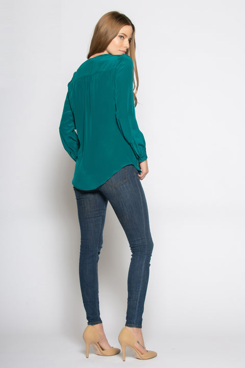 Emerald Green Long Sleeve Silk Pullover Shirt by Lavender Brown 002