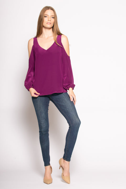 Grape Cold Shoulder Silk Blouse by Lavender Brown 001