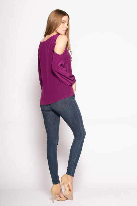 Grape Cold Shoulder Silk Blouse by Lavender Brown 002