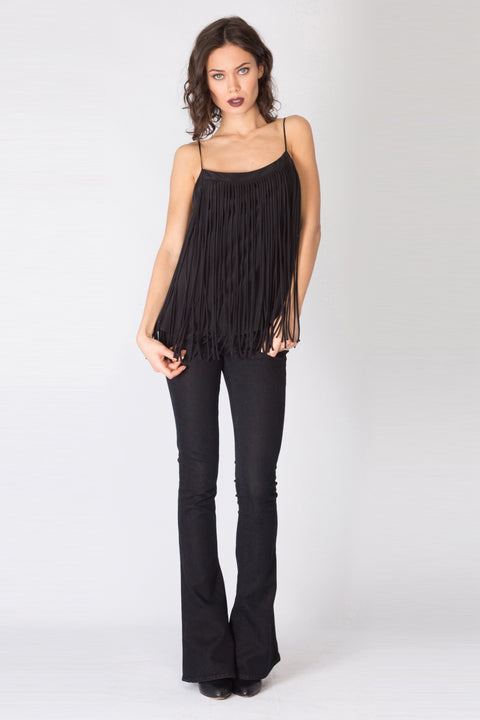 Black Fringe Silk Cami Top by Lavender Brown 001