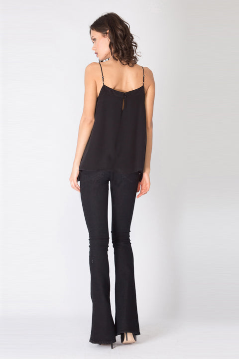 Black Fringe Silk Cami Top by Lavender Brown 002
