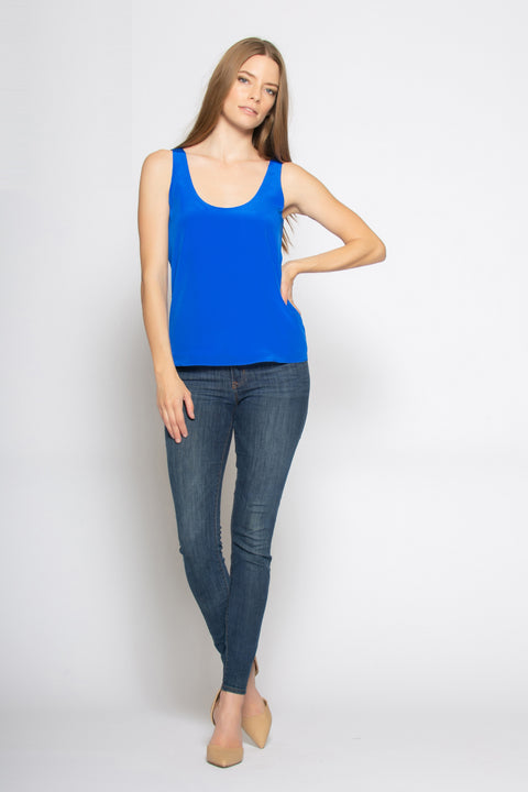 Bright Blue Scoop Neck Silk Cami Top by Lavender Brown 001