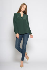 Hunter Green Long Sleeve Button Down Silk Shirt by Lavender Brown 001