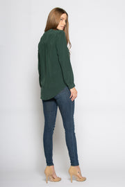 Hunter Green Long Sleeve Button Down Silk Shirt by Lavender Brown 002