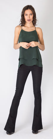 Hunter Green Overlay Silk Cami Tank Top by Lavender Brown - 1
