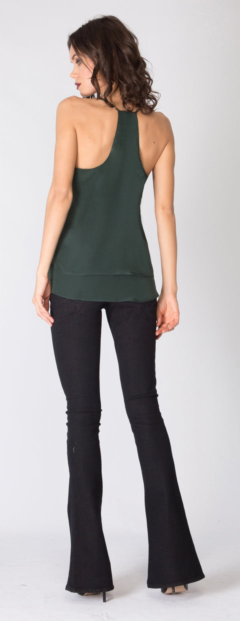 Hunter Green Overlay Silk Cami Tank Top by Lavender Brown - 2