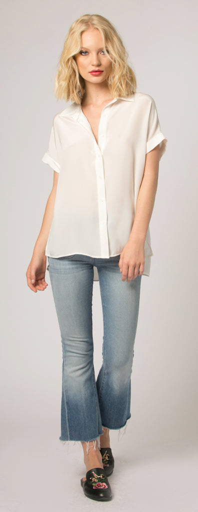 Ivory Short Sleeve Button Down Silk Blouse by Lavender Brown - 1