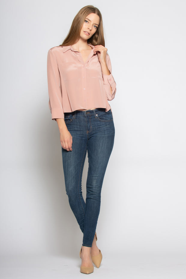 Dusty Rose Boxy Button Down Silk Shirt by Lavender Brown 001