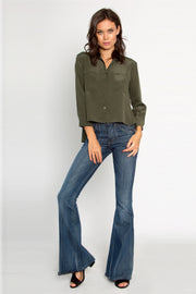 Utility Green Button Down Silk Blouse by Lavender Brown 001