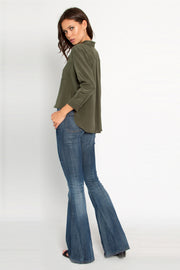 Utility Green Button Down Silk Blouse by Lavender Brown 002