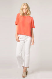 Coral Short Sleeve Silk Top by Lavender Brown 001