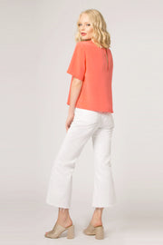 Coral Short Sleeve Silk Top by Lavender Brown 002