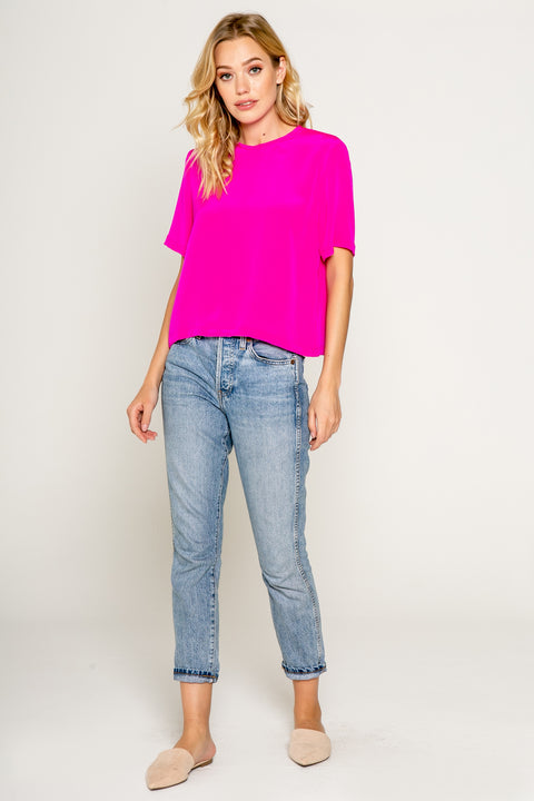 Cropped Boxy Short Sleeve Silk Top