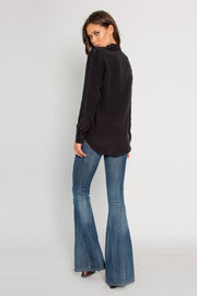 Black Long Sleeve Button Down Silk Shirt by Lavender Brown 002