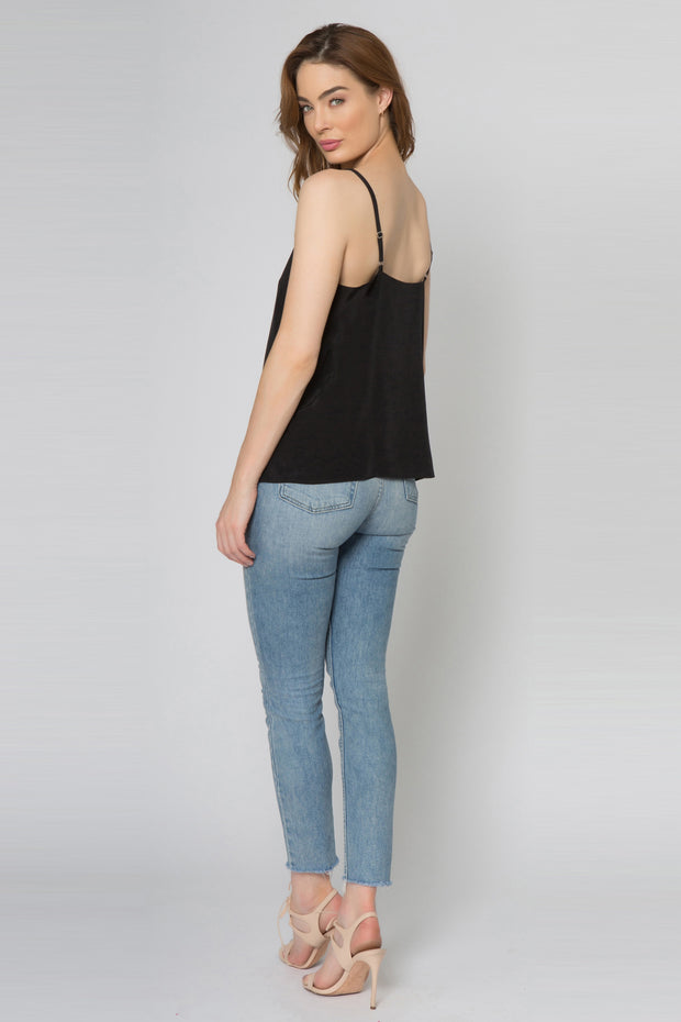 Black Backless Silk Cami Top by Lavender Brown 002