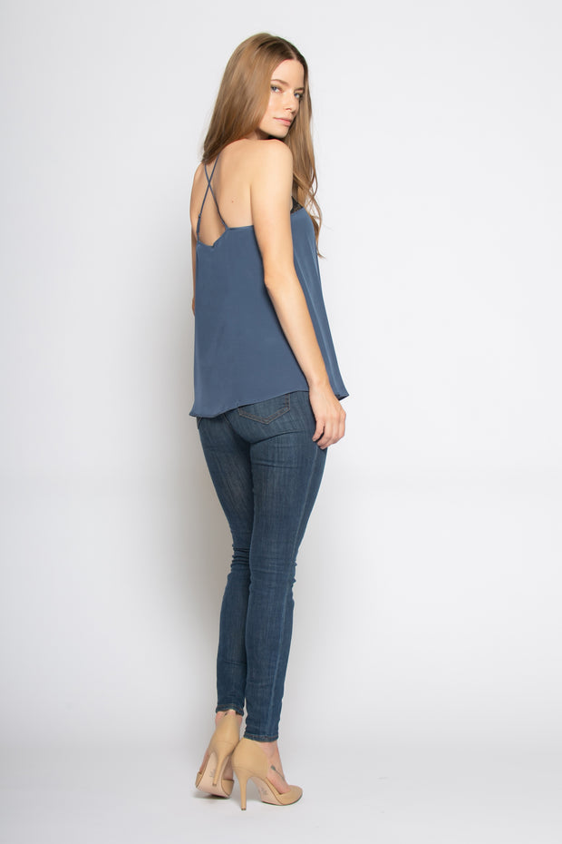 Denim Blue Illusion Neck Silk Cami Top by Lavender Brown 002