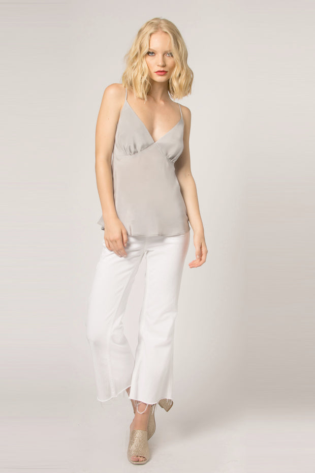Silver Backless Silk Cami Tank Top by Lavender Brown 001