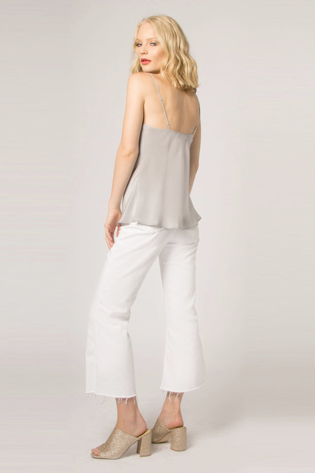 Silver Backless Silk Cami Tank Top by Lavender Brown 002