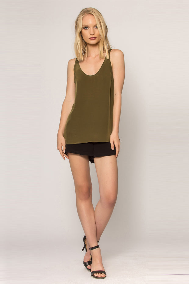 Olive Silk Jersey Tank Top by Lavender Brown 001