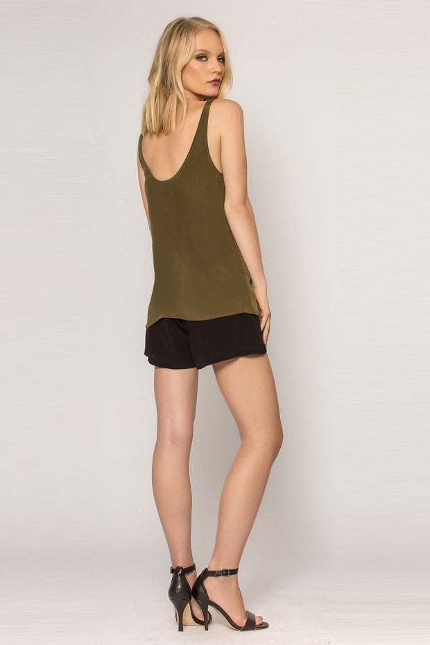 Olive Silk Jersey Tank Top by Lavender Brown 002