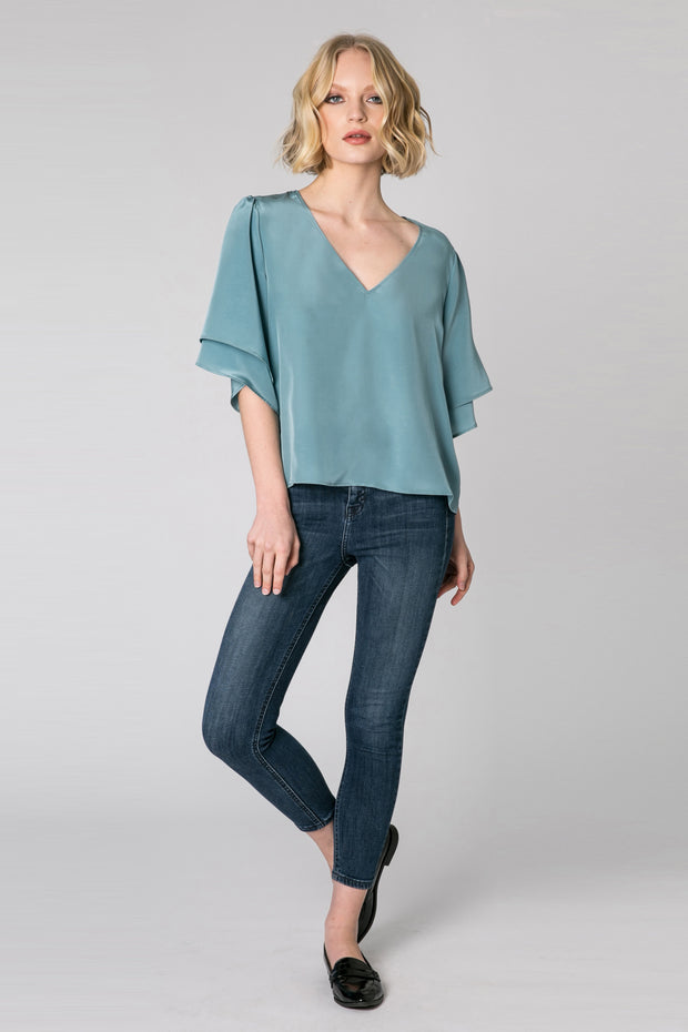 Slate Blue Short Sleeve Silk Blouse by Lavender Brown 001
