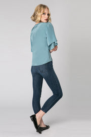 Slate Blue Short Sleeve Silk Blouse by Lavender Brown 002
