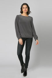 Charcoal Long Sleeve Open Back Silk Blouse by Lavender Brown 001