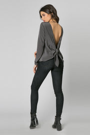 Charcoal Long Sleeve Open Back Silk Blouse by Lavender Brown 002